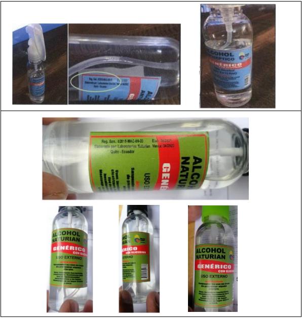 Arriba: producto falsificado. Abajo: producto original.