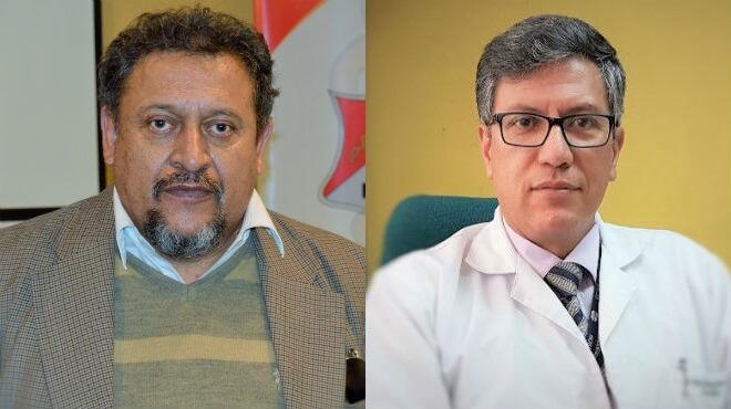 José Eras, presidente de la Federación Médica Ecuatoriana, y Víctor Álvarez, vicepresidente del Colegio Médico de Pichincha.
