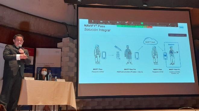 Christhian Chamba presenta la aplicaci�n Navify Pass.