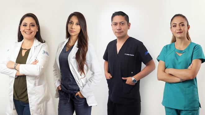 Pamela V�squez, especialista est�tica, M�nica Moreno, nutricionista, Christian Benavides, fisi�logo deportivo, y Eliana Jim�nez, fisioterapeuta deportiva.
