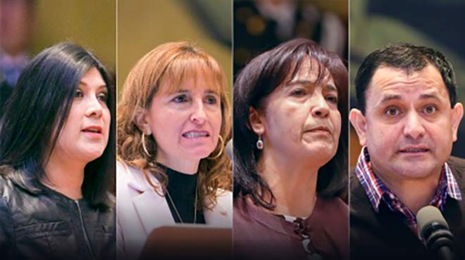 Heidy Molina, Isabel Salazar, Hevis Enr�quez y Luis Litardo, de la sociedad civil.