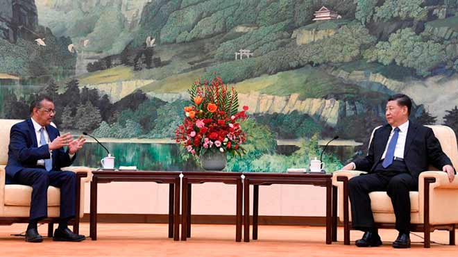 Tedros Adhanom Ghebreyesus y Xi Jinping.