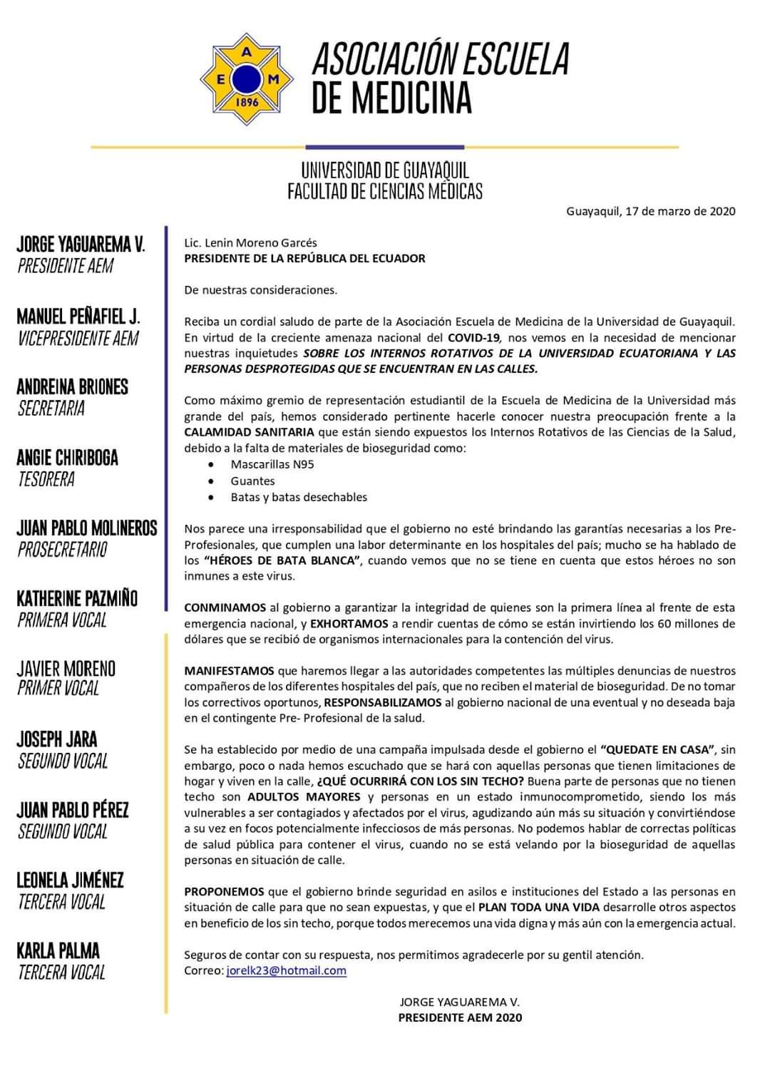 Comunicado de la Asociaci�n Escuela de Medicina de la Universidad de Guayaquil.