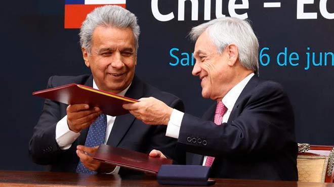 Los presidentes Len�n Moreno y Sebasti�n Pi�era lideraron la V Reuni�n del Consejo Interministerial Binacional Chile ? Ecuador.