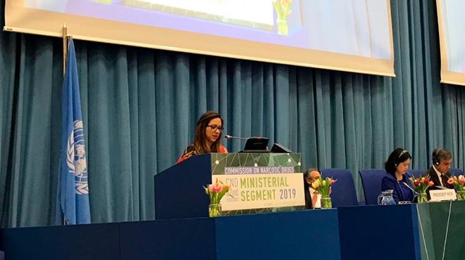 Ver�nica Espinosa, ministra de Salud, en la 62� sesi�n de la Comisi�n de Estupefacientes.