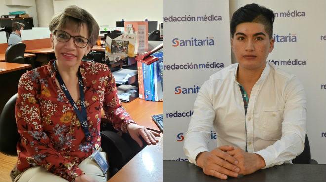 Patricia Carrero, docente de la UDLA, y David Chacha, enfermero.