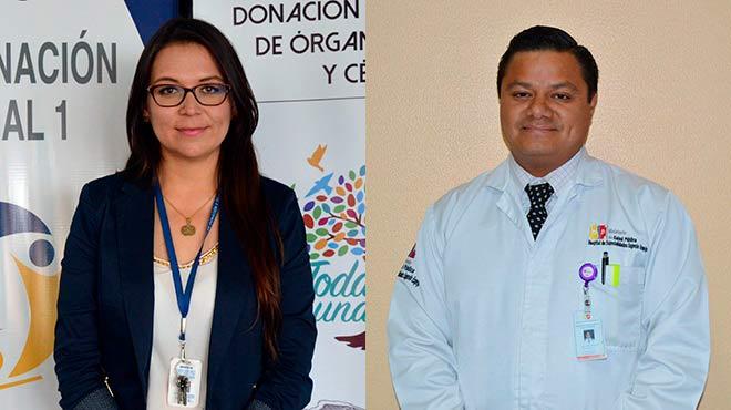 Jacqueline Aldaz, coordinadora zonal 1 del INDOT, y Oswaldo Alcocer, l�der del servicio de Nefrolog�a, Di�lisis y Trasplante del HEEE.