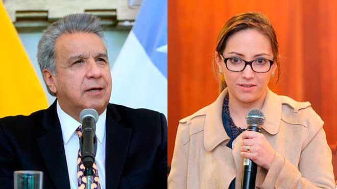 Len�n Moreno, presidente de la Rep�blica, y Ver�nica Espinosa, ministra de Salud.