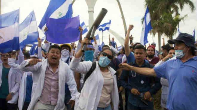 Protesta en las calles de Managua.