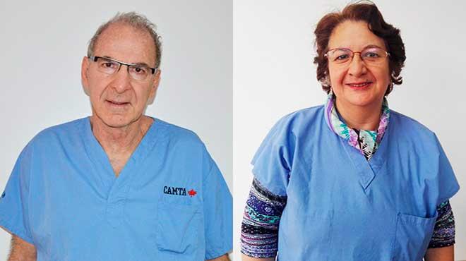 Marc Moreau, l�der de CAMTA y Patricia Jarr�n, del Hospital Padre Carollo.