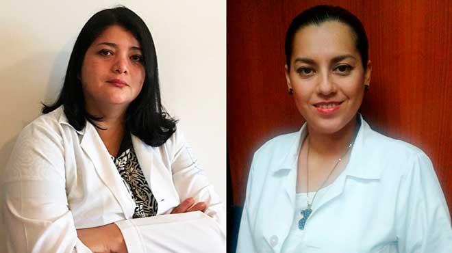 Paola �lvarez, vicepresidenta de la Sociedad Ecuatoriana de Glaucoma y Gabriela Heredia, oftalm�loga del Hospital Luis Vernaza
