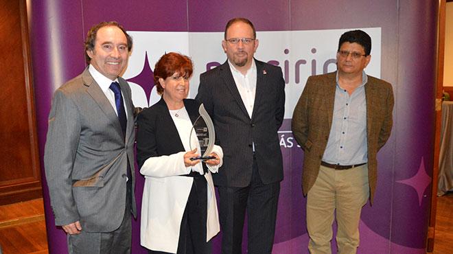 Herbath Torres, investigador, Amparo Amoroso, investigadora, Mario Miranda, gerente general de Prosirios, y Marcelo Nicolalde, investigador.