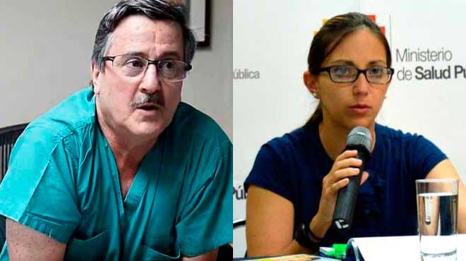 Roberto Gilbert, director de la Cl�nica Guayaquil, y Ver�nica Espinosa, ministra de Salud.
