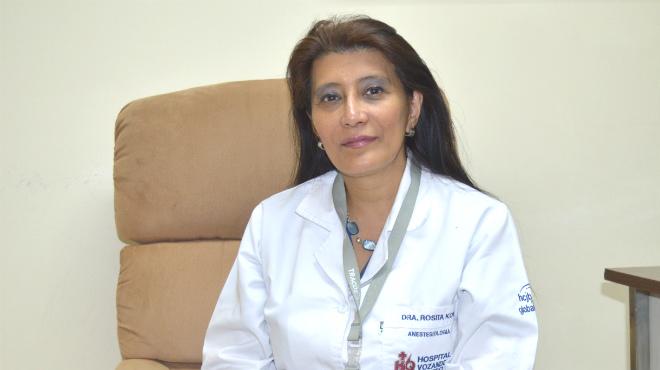 Rosyta Kon, presidenta de la Sociedad de Anestesiología de Pichincha.