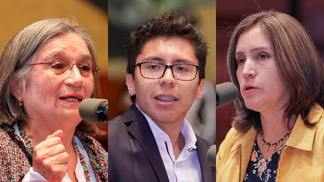 Sara Oviedo, Carlos Montenegro y Janet Cruz, de la sociedad civil.