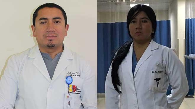 Danny Flores del HGDC y Elvia Parrales del HPAS.