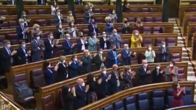 Diputados socialistas aplaudieron por varios minutos la aprobaci�n de esta ley,