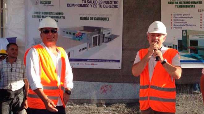 Presidente, Rafael Correa y Presidente del Consejo Directivo, Richard Espinosa.