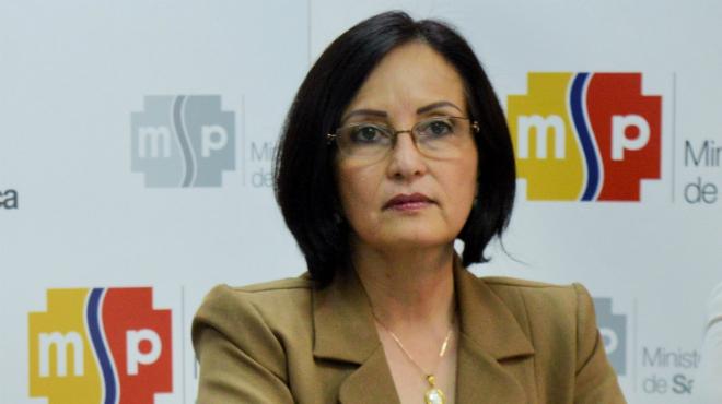 Margarita Guevara,ministra de Salud.