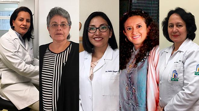 Lucy Balde�n, Bertha Estrella, M�nica Tarapu�s, Claudia Segovia, Gloria Arbel�ez.