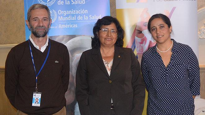 Adrián Díaz y Gina Tambini de OPS y Gabriela Rivas del MSP.