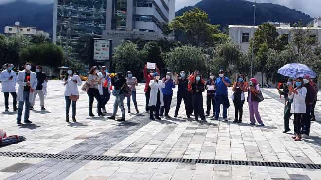 Realizaron un plant�n en Quito, en los exteriores de la Plataforma Financiera.