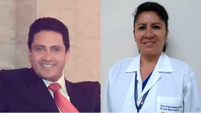 Salom�n Proa�o, director del Distrito 10D01 y Martha Ortiz, l�der de Salud Ocupacional del HAGP.