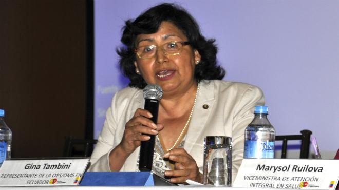 Dra. Gina Tambini, PAHO/WHO Representative in Ecuador.