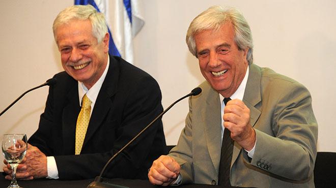 Jorge Basso, ministro de Salud y Tabr� V�zquez, presidente de Uruguay.